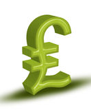 Pound. High resolution render of green 3D Pound symbol vector illustration