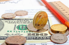 Pound against the dollar and the euro, cross-rate. Stock Image