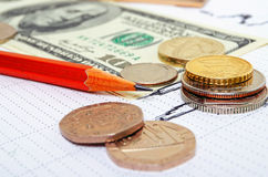 Pound against the dollar and the euro, cross-rate. Royalty Free Stock Photography
