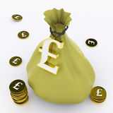 Pound Bag Means British Wealth And Money Royalty Free Stock Images