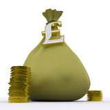 Pound Bag Shows British Currency And Wealth Royalty Free Stock Photos
