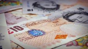 10 Pound Banknotes Rotating Closeup stock footage