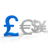 Pound. In blue color and other currencies Royalty Free Stock Photo