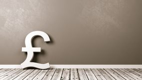 Pound British Currency Sign on Wooden Floor Against Wall. White Pound British Currency Symbol Shape on Wooden Floor Against Grey Wall with Copy Space 3D Royalty Free Stock Photography