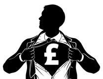 Pound Business Man Superhero Tearing Shirt Chest stock illustration