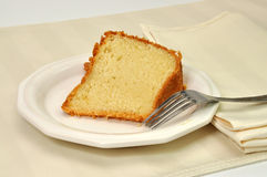 Pound Cake. Slice of pound cake with fork and napkin Stock Image