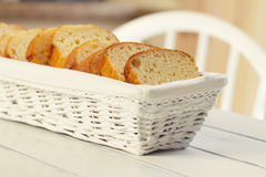 Pound cake in a basket Royalty Free Stock Images