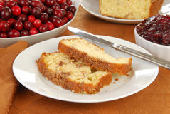Pound cake with cranberry sauce Stock Image