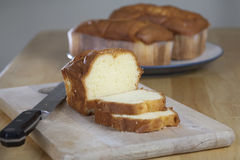 Pound Cake on Cutting Board 3056 Stock Images