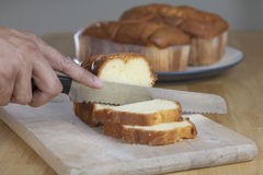 Pound Cake on Cutting Board Royalty Free Stock Photos