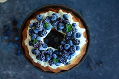 Pound Cake with forest fruits Royalty Free Stock Photo