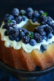 Pound Cake with forest fruits. And mascarpone cream Stock Photography