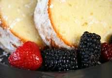 Pound Cake and Fruit Stock Images