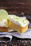 Pound cake with lemon, lime and freshly shredded coconut Stock Images