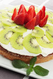 Pound cake with strawberries and kiwi Stock Photography