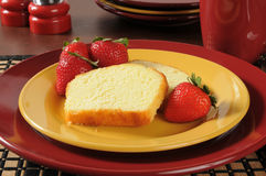 Pound cake with strawberries Royalty Free Stock Image