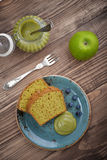 Pound cake with tea matcha. Curd on plate top view stock photography