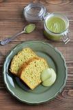 Pound cake with tea matcha Stock Photography
