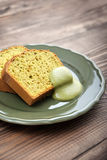 Pound cake with tea matcha. Curd top view royalty free stock images