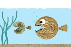 Pound chasing Euro Stock Images