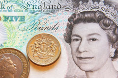 Pound, coin and banknote Royalty Free Stock Photos