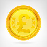 Pound coin golden currency object isolated Royalty Free Stock Images