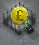Pound coin in padlock locked fence concept Royalty Free Stock Image