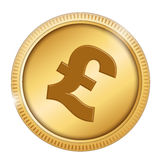 Pound coin. Pound symbol in a gold coin isolated on white Stock Images