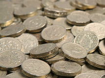 Pound Coins. A pile of British pound coins suitable as background Royalty Free Stock Photos
