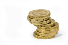 Pound Coins. A stack 8  british pound coin Stock Images