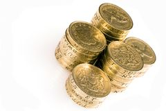 Pound Coins. A stack 8  british pound coin Royalty Free Stock Photo