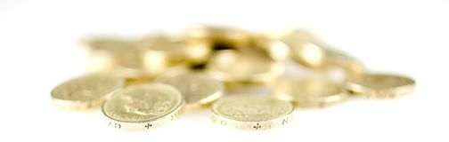 Pound Coins. A pile of british pound coin Royalty Free Stock Image