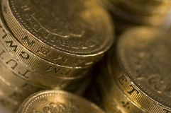 Pound Coins. A pile of british pound coin Stock Photography