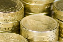 Pound Coins. A pile of british pound coin Royalty Free Stock Photography