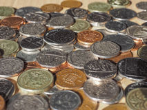 Pound coins. British Pound coins currency of the United Kingdom royalty free stock images