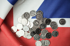 pound coins on British flag Royalty Free Stock Image