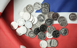 pound coins on British flag Royalty Free Stock Photography