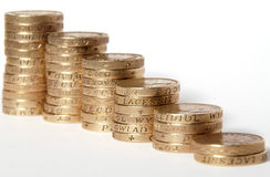 Pound coins - isolated white background Royalty Free Stock Photography