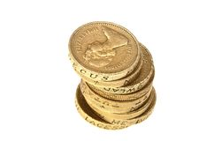 Pound coins stack Royalty Free Stock Images