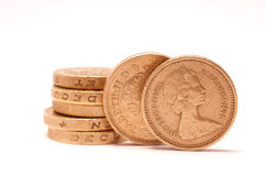 Pound coins. Stack of british one pound coins Royalty Free Stock Image