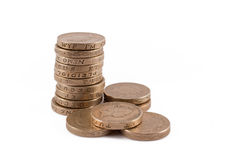 Pound coins. Stack of british one pound coins Stock Image