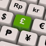 Pound And Currencies Computer Keys Show Money Exchange Royalty Free Stock Photos