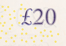 Pound currency background - 20 Pounds Stock Photo