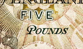 Pound currency background - 5 Pounds - Vintage sepia Royalty Free Stock Photography