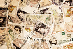 Pound currency background - Vintage sepia Royalty Free Stock Images