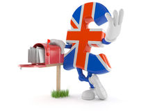 Pound currency character with mailbox Royalty Free Stock Photo