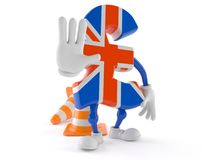 Pound currency character making stop gesture. On white background Royalty Free Stock Image