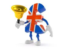 Pound currency character ringing a handbell. Isolated on white background Royalty Free Stock Image