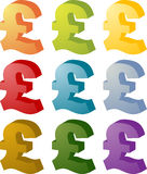 Pound currency icon set Royalty Free Stock Photos