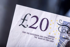 Pound currency, money, banknote.  English currency. UK banknotes of different values stacked on each other Stock Image